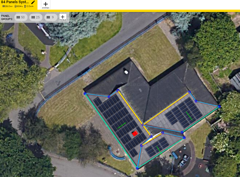 Aerial view of an array designed in Open Solar